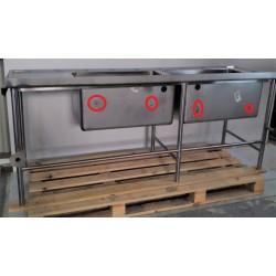 Table de plonge en Inox 2 Cuves - 5955433 - NEUVE Déclassée