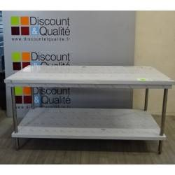 Table écoline centrale avec étagère en  inox 1800 x 700 SUD INOX NEUVE déclassée