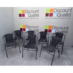 Lot de 7 chaises de jardin noires en résine tressées NEUVE déclassée
