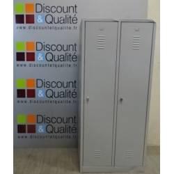 Armoire - vestiaire métallique  gris monobloc 2 portes  180 x 80 cm NEUF déclassé