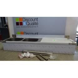 Table de plonge adossée en inox avec 2 bacs côté gauche 2200 x 900  x 600 SUD INOX NEUVE déclassée