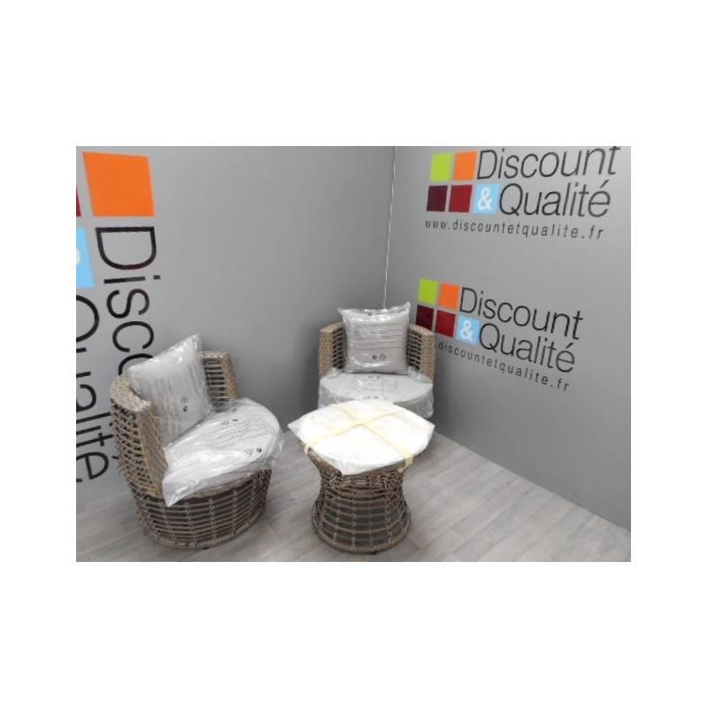 a991dd43fc6 Salon de jardin en rotin avec 2 fauteuils et 1 table KAHRES Valina NEUF  déclassé