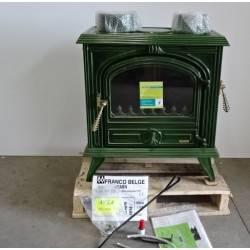 Poele a bois 10 kW buches 45 cm vert FRANCO BELGE Bearn 1341015J NEUF
