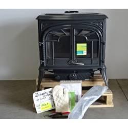 Poele a bois 15 kW buches 55 cm 2 portes émaillé gris anthracite FRANCO BELGE Gascon 15 1341505E NEUF
