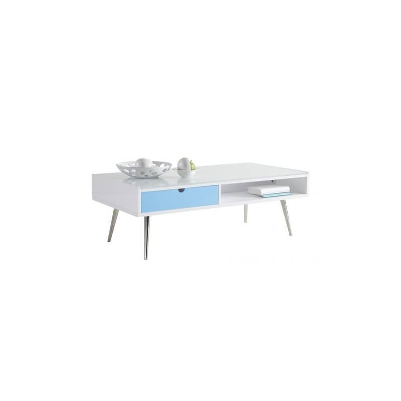 ZONS Table dappoint en Bois avec tiroir Bleu