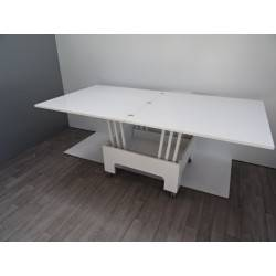 Table de salon hauteur modulable avec rallonges blanche laquée max 8 ...