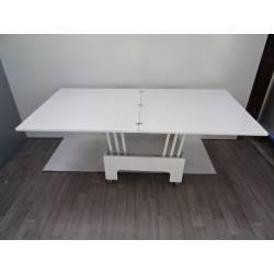 Table de salon hauteur modulable avec rallonges blanche laqu e max 8 personnes moss zebra neuve - Table salon modulable hauteur ...