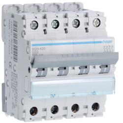 Disjoncteur 4P 6-10kA courbe D - 40A 4 modules HAGER NGN440 NEUF déclassé