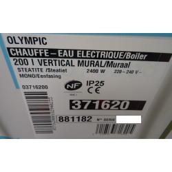 Chauffe-eau electrique steatite 200 Litres 2400 W OLYMPIC 371620 NEUF
