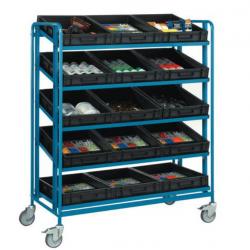 Roll conteneur - Chariot  à bacs 5 plateaux inclinables en tôle + 15 bacs...