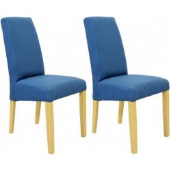 2 chaises bleues avec pieds bois naturel NEUVES