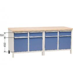 Etabli d'atelier 4 portes  + 4 tiroirs longueur 2 m  ERGO KIND NEUF déclassé