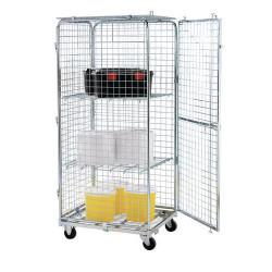 Roll-conteneur de sécurité avec deux tablettes - base acier - force 400 kg...