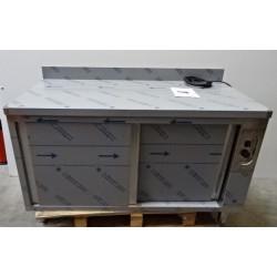 Meuble bas adossé chauffant inox avec portes coulissantes 1400 x 700 mm GAFIC...
