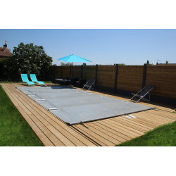 Couverture - bâche à barres opaque grise pour piscine 9.73 X 4.50 m NEUVE...