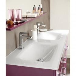 Lavabo - Plan double vasque blanc en verre trempé 1210 x 460 mm NEUF déclassé