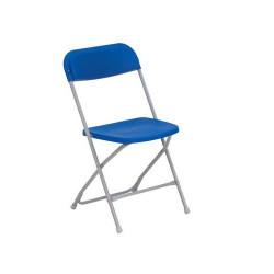 Lot de 10 chaises pliantes empilables acier assise polypropylène coloris bleu...