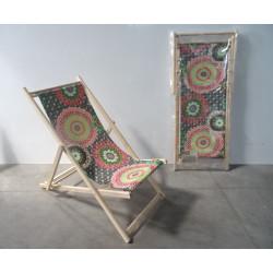 Lot de 2 chaises longues  chiliennes en bois pliante -   JARDIN PRIVE  Colima...
