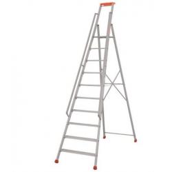 Echelle - escabeau   avec rampes 10 marches en aluminium - Hauteur travail -...