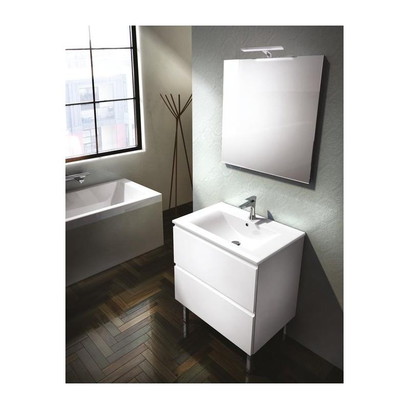 Meuble sous vasque de salle de bain 2 portes blanc largeur 70 cm gb group dublino moee4n neuf - Meuble vasque 70 cm de large ...