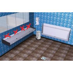 Lave - main inox mural collectif commande par le genou - eau froide - 200 x...