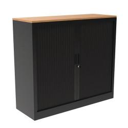 Armoire à rideaux noir avec plateau bois 120 cm A067036 NEUVE déclassée