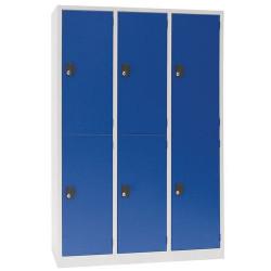 Vestiaire 6 cases 3 colonnes gris bleu A067036 NEUF déclassé