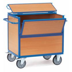 Chariot - caisse  parois bois avec couvercle et panneau 1/2 rabattable  FETRA...