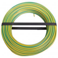 Couronne de 100 m de fil électrique gainé rigide vert / jaune  H07V - U  -...