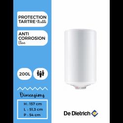 Chauffe-eau électrique DE DIETRICH 200L COR-EMAIL stéatite monophasé ou...