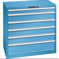 Etabli armoire basse  d'atelier 6 tiroirs en acier  serrure à code  Largeur...