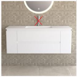 Ensemble meuble vasque suspendu de salle de bain en résine minéral blanc mat...