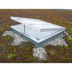 Lanterneau Fenêtre de toit avec grille en acier  coiffe droite 150 mm...