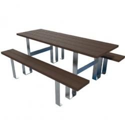 Table Banc d'extérieur MANUTAN Pied acier galvanisé 180X60 cm - NEUF