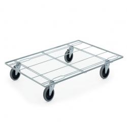 Plateau roulant porte bacs en fil d'acier pour bacs norme Europe 600 x 400 mm...