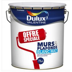 Pot de 15 L de peinture acrylique blanc mat pour murs et plafonds DULUX...