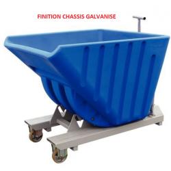 Caisse - Benne autobasculante polyéthylène sur roue pour chariot élévateur...