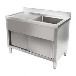 Table de plonge adossée en inox - Double paroi -  1 evier  + égouttoir 120 cm...