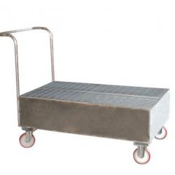 Chariot de rétention caillebotis galvanisé  220 L pour 2 fûts SAMETO...