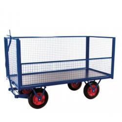 Chariot Remorque plateau avec parois grillagées roue pneumatique -  2M -...