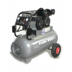 Compresseur à courroie bi cylindre mobile triphasé 3 CV 100 L PRODIF EXPERT...