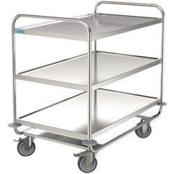 Chariot Desserte inox  - 3 plateaux - Force 200 kg NEUF