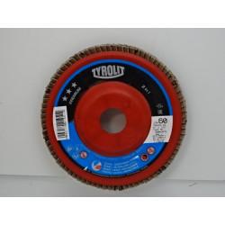 Lot de 10 disques à lamelles TYROLIT 125x22,23 grain 60 pour l'acier et...