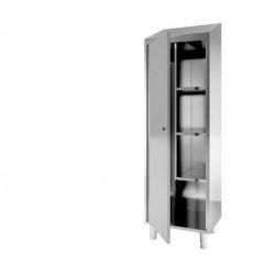 Armoire inox 1 porte GAFIC pour produit entretien avec 3 étagères 200 x 60 x...