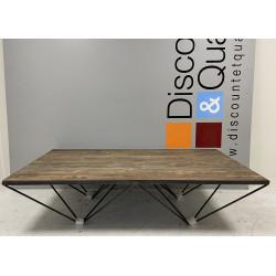 Table basse rectangulaire SHEFFIELD Design industriel lames de bois et métal...
