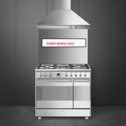 Cuisinière mixte  - Piano de cuisson 90 cm SMEG Inox Double four - 5 feux...