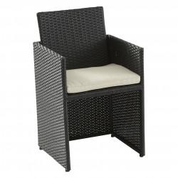 Lot de 2 chaises extérieures de salon de jardin encastrables en résine-Toile...