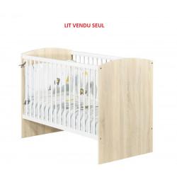 Lit à barreaux bébé SAUTHON 120 X 60 cm Paulin Couleur chêne clair  ZW 031A...
