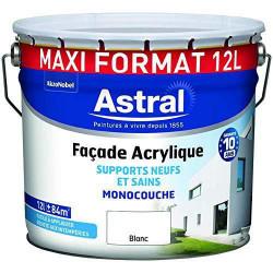 Lot de 2 pots de peinture de 12 L ASTRAL Façade acrylique monocouche   Blanc...