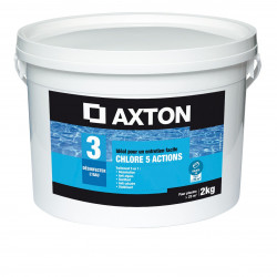 Galet chlore 5 actions piscine AXTON - 2 kg - NEUF